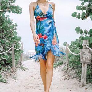 NEW Farm Rio Blue Jungle Fringe Wrap Mini Dress